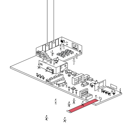 Line art illustration of modern office working space sales showroom with office furnitures display and visitors Illusztráció