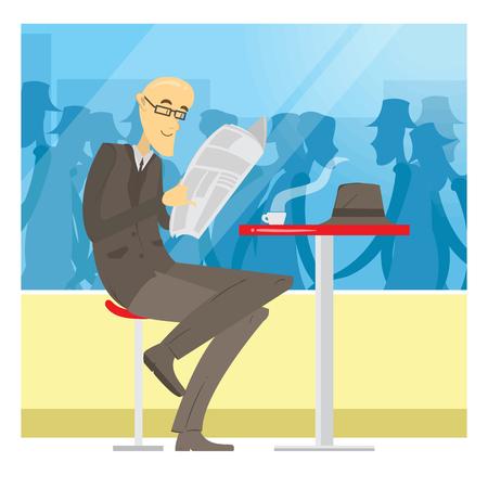 Zakenman die in koffie wacht en een krant leest Stockfoto - 91885011