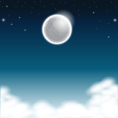 Illustration of night sky with the moonlight Stock Illustratie