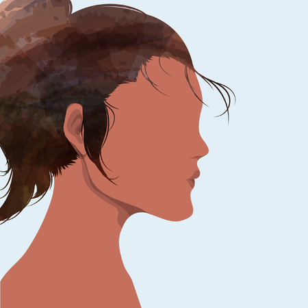 Silhouette of girl with tied of hair Vectores
