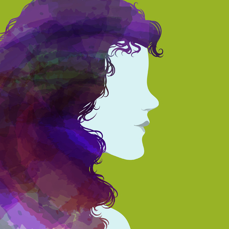 Silhouette of girl with curly hair Vector illustration. 向量圖像