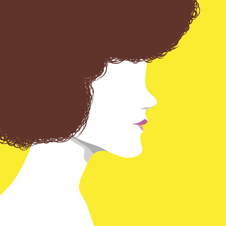 Silhouette of girl with curly disco hair 向量圖像