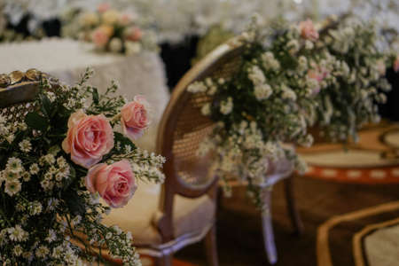 luxurious and elegant wedding decoration with pastel rose flower concept