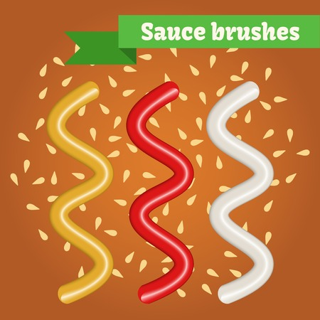 mayonnaise: sauce brushes. Ketchup realistic splashes. Mustard and mayonnaise illustrations.