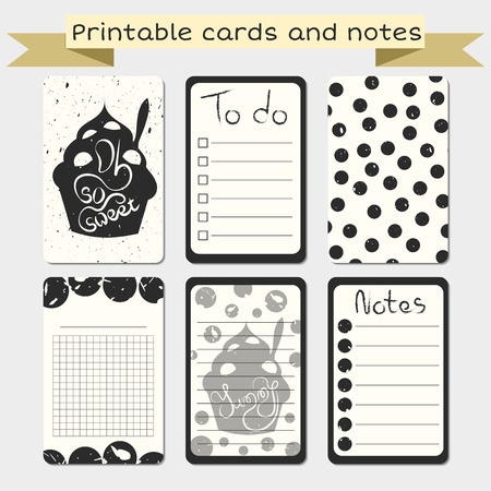 printable: Printable journalist cards. Notes designs. Stylish to do list with sweet dessert illustration. Grunge design.