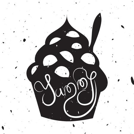 yaourt: carte de style vintage avec du yogourt glacé. Délicieux texte. Hipster dessert, illustration de style avec une texture grunge et devis.