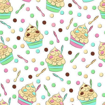 frozen yogurt: Cute seamless frozen yogurt pattern. Colorful dots and spoons. Sweet cold desserts design.