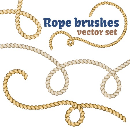 Rope brushes set. Decorative knots for your designs.