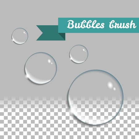 water drops: Transparent bubbles brush. Round realistic water drops. design elements set.