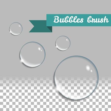 burbujas de jabon: Transparente burbujas cepillo. Ronda de gotas de agua realista. elementos de diseño establecidos. Vectores