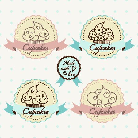 shop button: Cupcake logo set. badges and labels design.