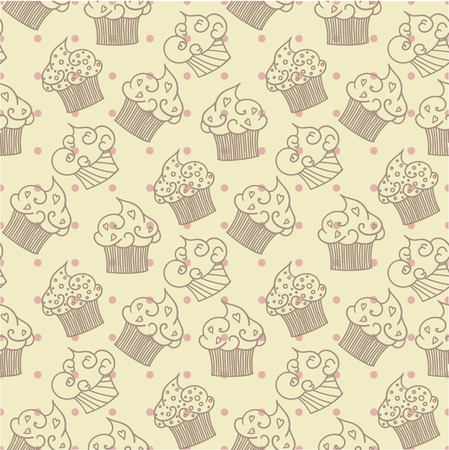cute wallpaper: Cupcakes seamless pattern. Beige background.