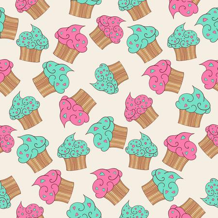 beige background: Cupcakes seamless pattern. Beige background. Illustration