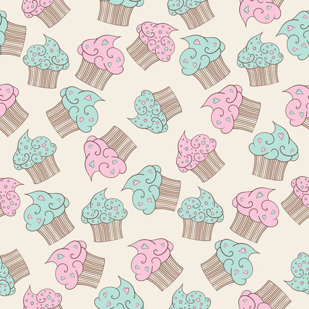beige background: Cupcakes seamless pattern. Beige background.