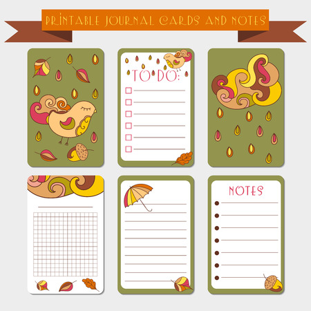 scrap booking: Printable  journal cards, labels, with autumn illustrations. Template for scrap booking and wrapping. set of cute notes with colorful rain drops. Create your own diary design. Illustration