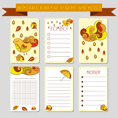 scrap: Printable  journal cards, labels, with autumn illustrations. Template for scrap booking and wrapping. set of cute notes with colorful rain drops. Create your own diary design. Illustration