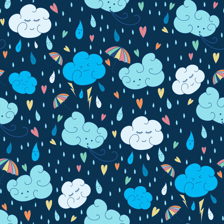doodling: seamless rain theme pattern. Colorful doodling autumn design. Endless background with hand drawn clouds, rain drops, umbrella and hearts. Illustration