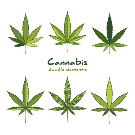 Cannabis icon set. Medical marijuana hand drawn elements.  Doodle design.