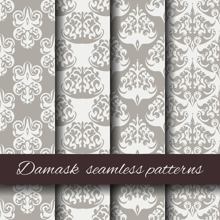 seamless damask: Seamless damask beige pattern set.