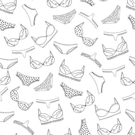 Seamless lingerie pattern. bras and panties design.