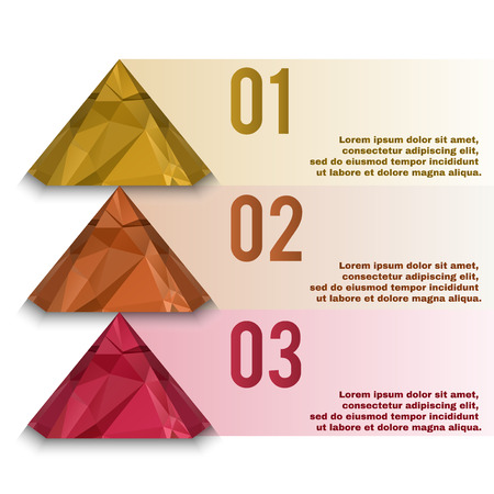 pyramid shape: Polygonal info graphic. Pyramid shape low poly elements. Illustration