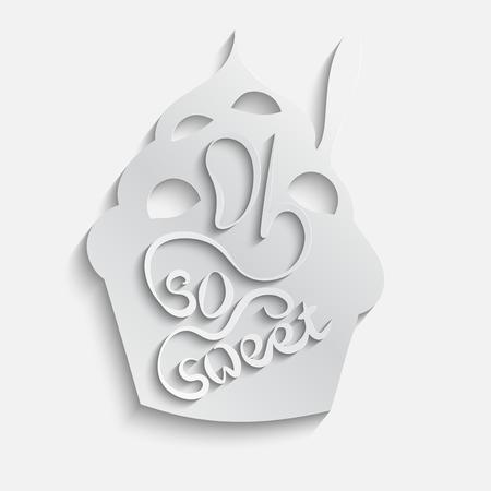 frozen yogurt: Abstract 3d paper frozen yogurt card. Oh so sweet text. dessert design.