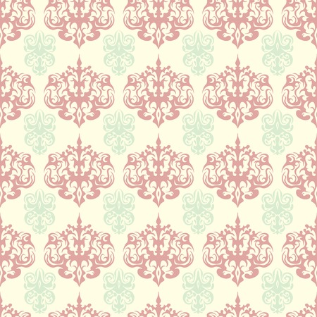 Damask colorful seamless pattern. Pink and green colors design. Excellent background for textile.