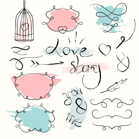 fashion story: Romantic set. hand drawn elements. Love story text. Sketch frames with colorful splash background.