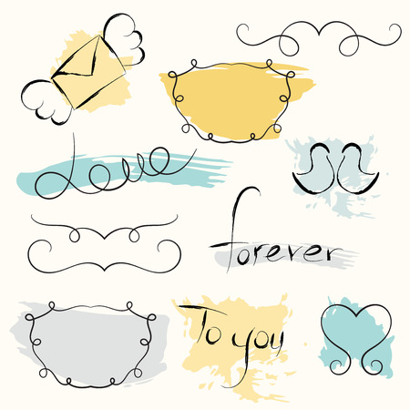 fashion story: Romantic set. Vector hand drawn elements. Love story text. Sketch frames with colorful spalash background.