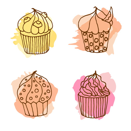 cake paper: Vector cupcake illustration. Set of 4 hand drawn cupcakes with colorful splashes. Cakes with cream and berries.