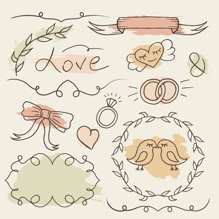 Rustic wedding set. Romantic collection. Vector hand drawn elements. Sketch frames with colorful spalash background. Illustration