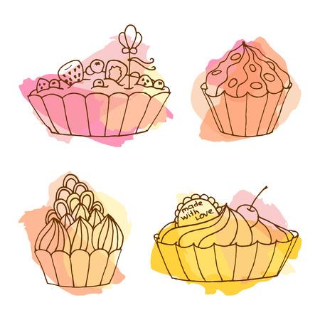 blueberry pie: Tarts vector illustration. Doodle cakes with splash background. Outline desserts set with fruits.