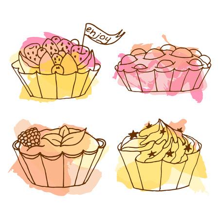 tarts: Tarts vector illustration. Doodle cakes with splash background. Outline desserts set with fruits.