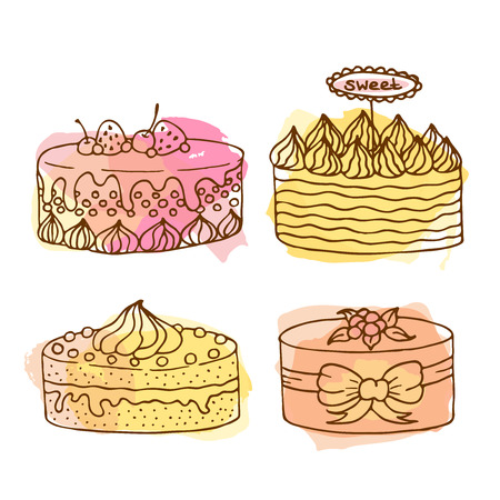 Vector cake illustration. Set of 4 hand drawn cakes with colorful watercolor splashes. Wedding cakes with cream and berries. Celebration cake design. 向量圖像