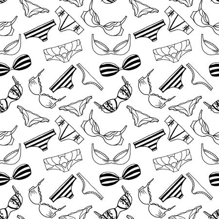 femme en sous vetements: Lingerie seamless pattern. Vecteur de sous-v�tements de conception de fond. D�crire la main lengerie illustration dessin�e. Soutiens-gorge et culottes doodle. Mode f�minine papier peint. Illustration