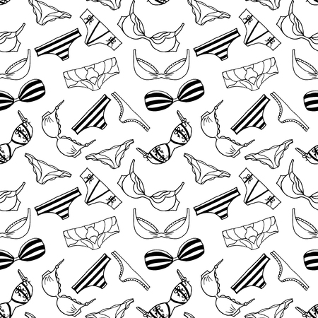 ladies underwear: Lingeries seamless pattern. Vector underwear background design. Outline lengerie hand drawn illustration. Bras and panties doodle. Fashion feminine wallpaper.