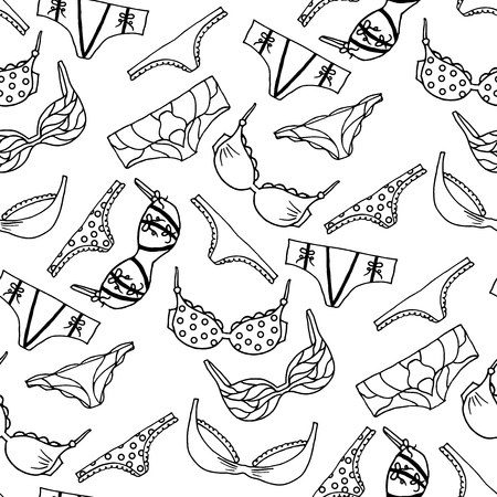 femme en sous vetements: Lingerie seamless pattern. Vecteur de sous-v�tements de conception de papier peint. Contour dessin� � la main illustration. Gorge et culottes doodle. Mode paking fond.