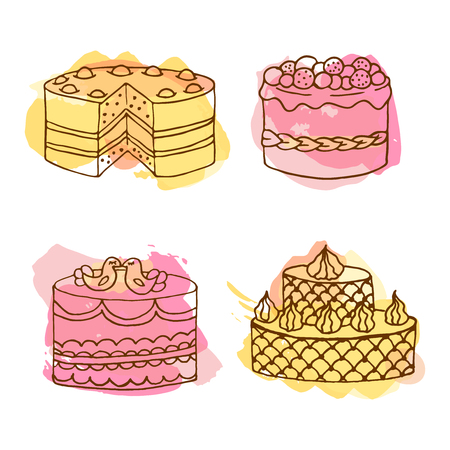 Vector cake illustration. Set of 4 hand drawn cakes with colorful watercolor splashes. Wedding cakes with cream and berries. Celebration cake design. Couple of birds on top.