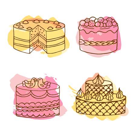 Wektor ilustracja ciasto. Zestaw 4 strony narysowane ciasta z kolorowymi plamami akwareli. Ciasta z bitą śmietaną i jagodami. Projekt celebracji ciasto. Para ptaków na górze.