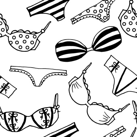 Lingerie seamless pattern. Vector underwear background design. Outline hand drawn illustration. Bras and panties doodle style. Fashion feminine wallpaper.