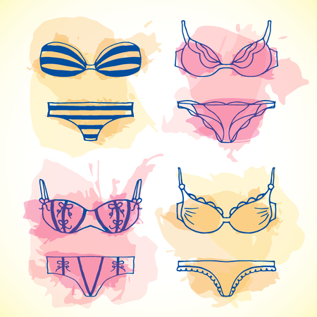 Lingerie seamless pattern. Vector underwear background design. Outline hand drawn illustration. Bras and panties doodle style. Fashion feminine wallpaper excellent for paking.