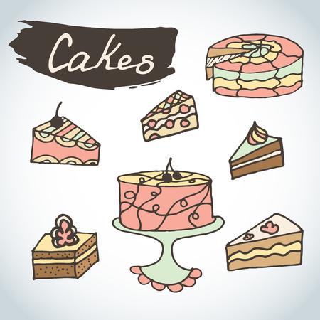 pastel: Dibujado a mano pasteles dulces conjunto de colores. Elementos de la panader�a del bosquejo del vector. Excelente para crear su propio dise�o del men�. pastel de celebraci�n del doodle con las frutas.