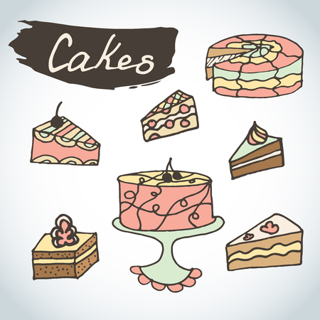 Hand drawn sweet cakes colorful set. Bakery vector elements sketch. Excellent for creating your own menu design. Doodle celebration cake with fruits. 向量圖像