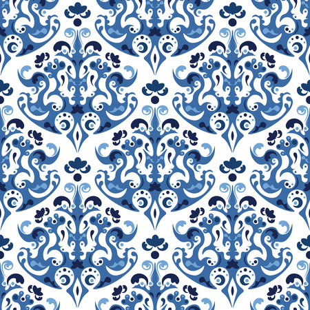 Seamless blue pattern. Vector background with ethnic ornaments. Gzhel style design. Abctract floral wallpaper. Illustration