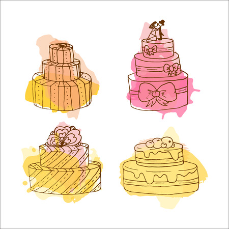 Vector cake illustration. Set of 4 hand drawn cakes with colorful watercolor splashes. Wedding cakes with cream and berries. Celebration cake design. Couple on top. Illustration