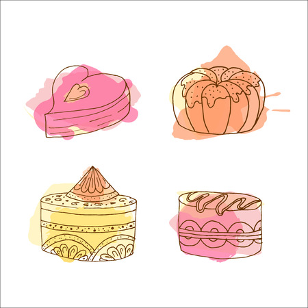 brownie: Vector cake illustration. Set of 4 hand drawn cakes with colorful watercolor splashes. Desserts with cream and berries. Brownie illustrations.