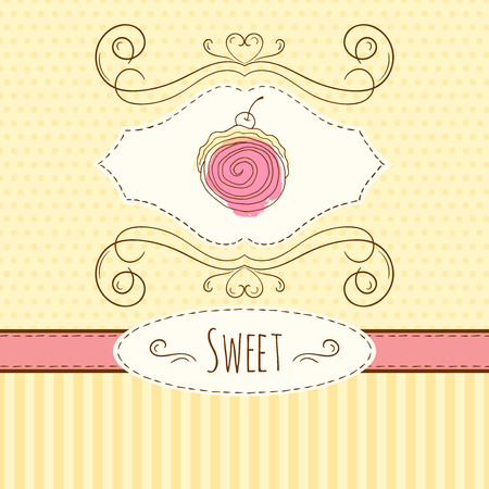 swiss roll: Swiss roll illustration. Vector hand drawn card with watercolor splashes. Sweet polka dots and stripes design. Invitation card template. Illustration