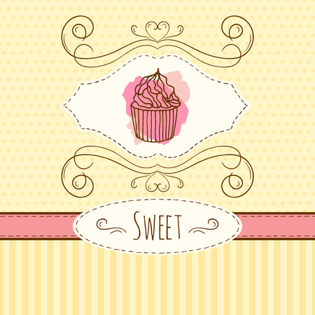 cupcake illustration: Cupcake illustration hand drawn card with watercolor splashes.