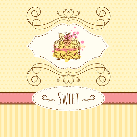 cake background: Cake illustration hand drawn card with watercolor splashes.