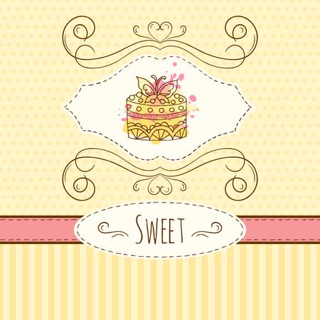 pastel boda: ilustración dibujados a mano de la torta tarjeta con salpicaduras de acuarela.